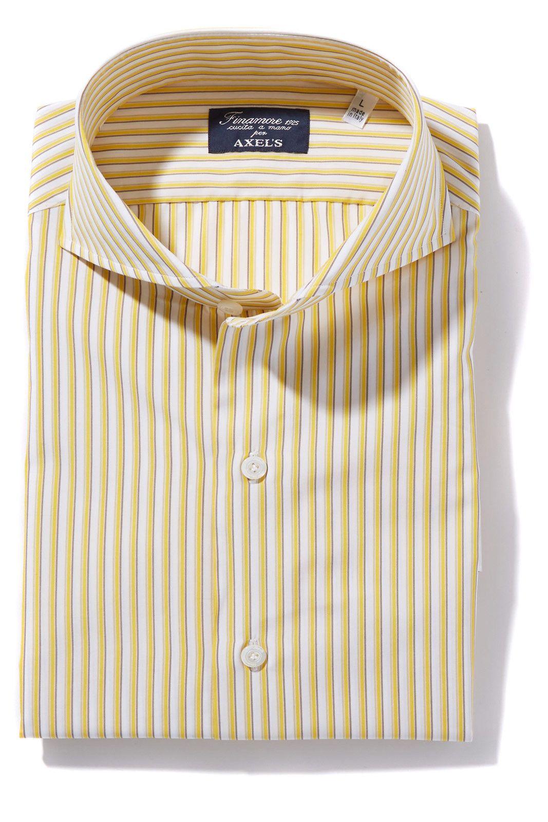 Finamore Sergio White Yellow Brown Stripe Dress Shirt Mens Yellow Dress Shirt Yellow Shirt Dress Sport Dress [ 1600 x 1067 Pixel ]