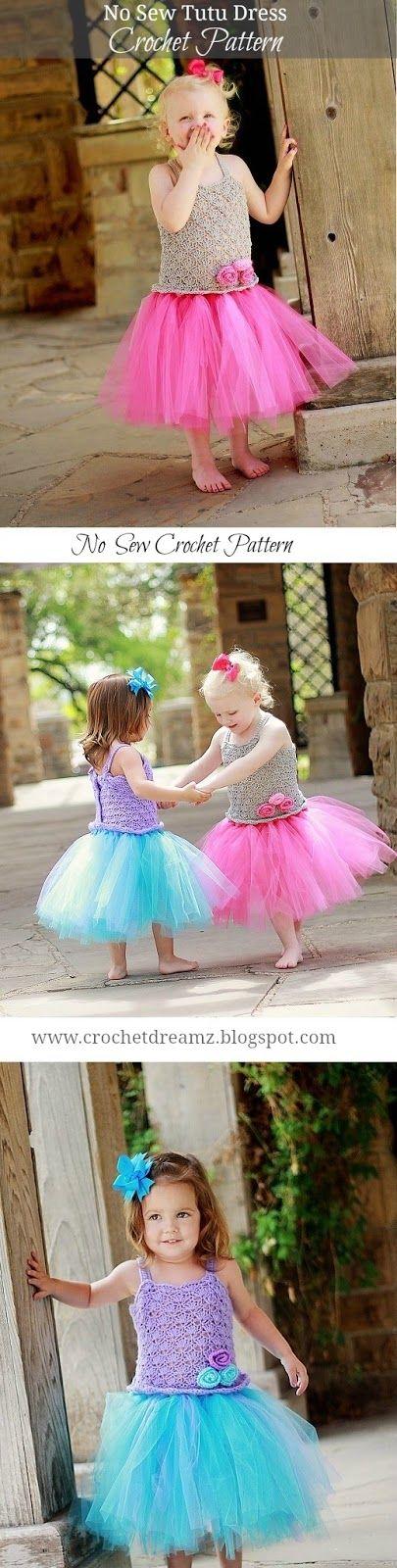 No Sew Tutu Dress Crochet Pattern, Crochet Baby Dress Pattern, Pdf Pattern, Newborn to 10 Years