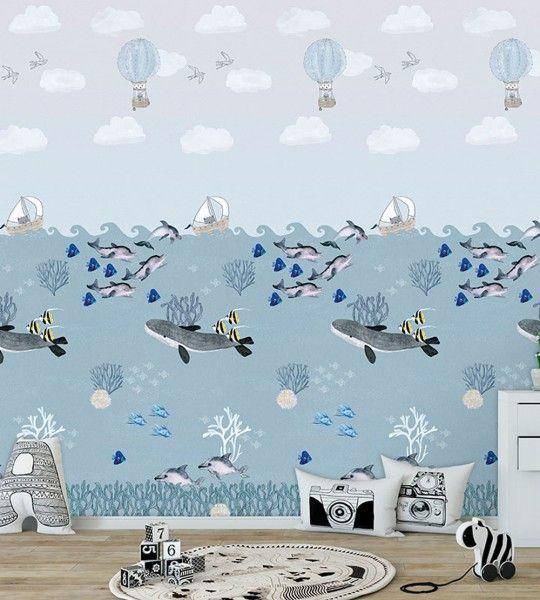 Wandbild Vlies Meer Delfine Blau in 2020 Wandbilder