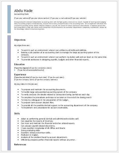 Accounting Clerk Resume DOWNLOAD at   writeresume2org - resume download