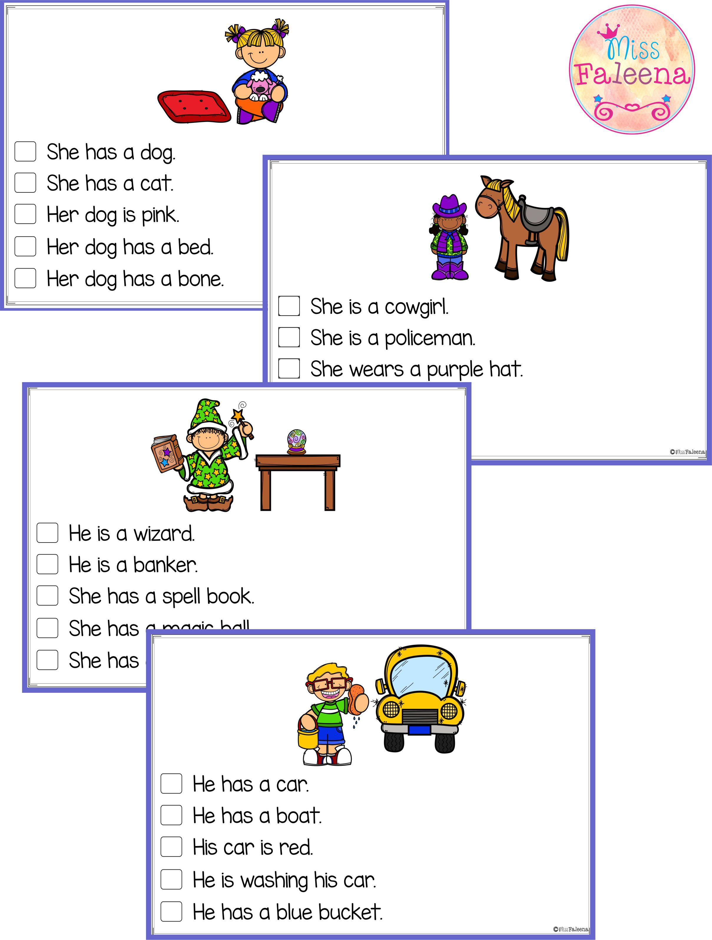 Free Picture Comprehension Cards And Worksheets With
