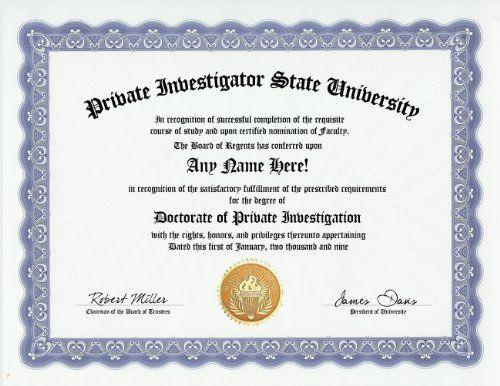 Private Investigator PI Investigation Degree: Custom Gag Diploma ...