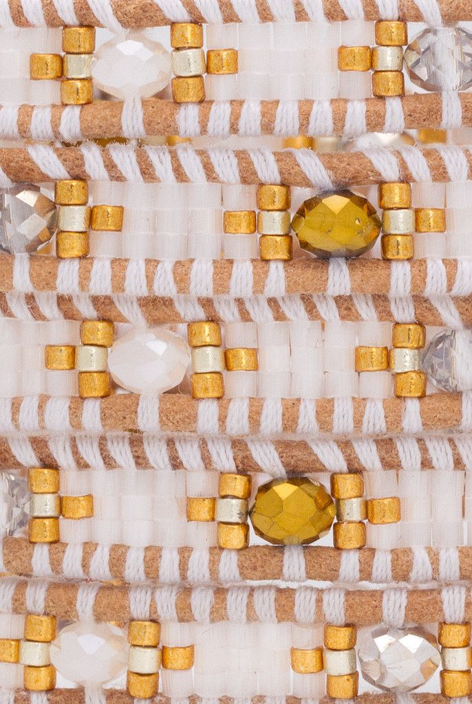 Special White Mix Wrap Bracelet on Beige Leather