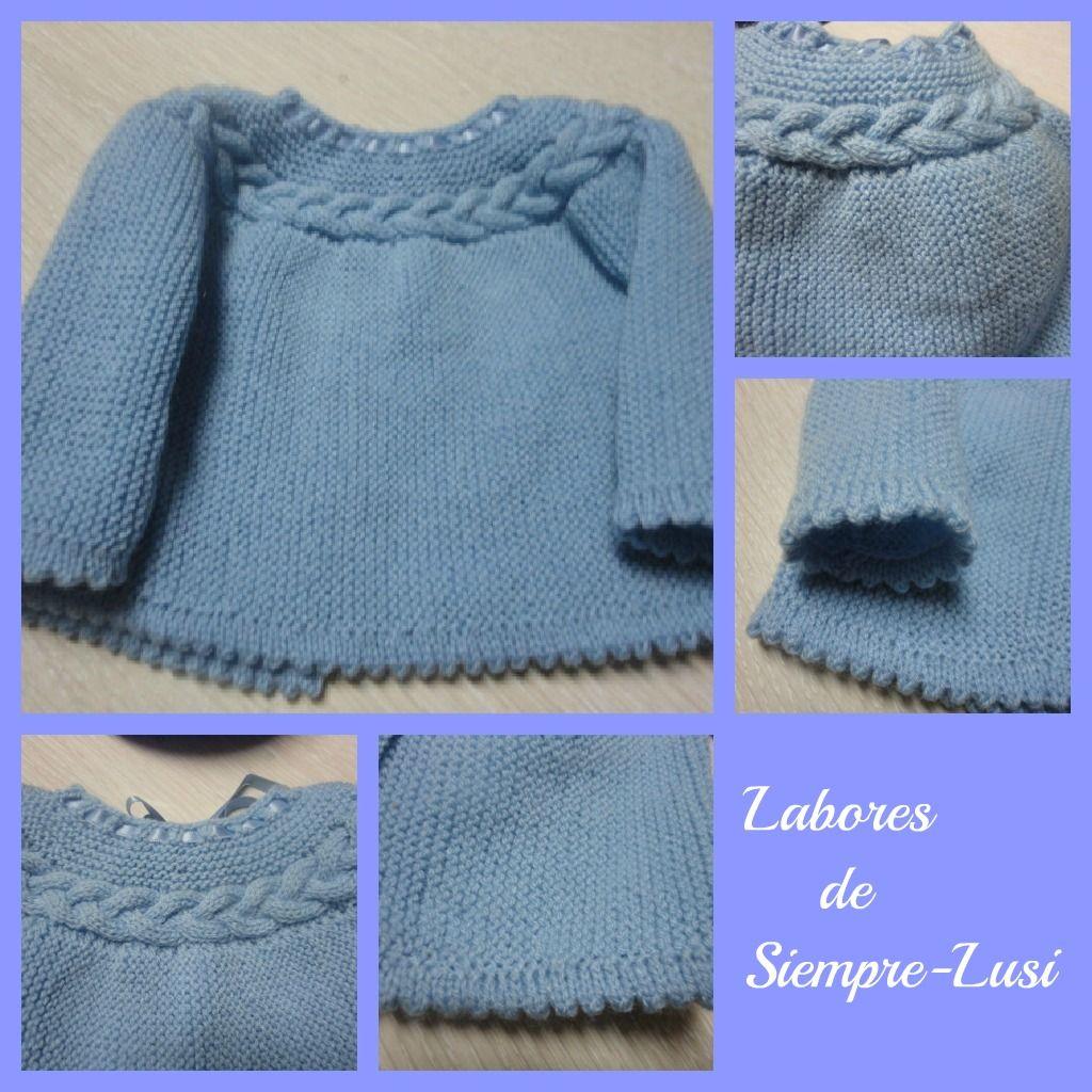 Labores de siempre jersey beb con trenza tricot ni os - Labores de crochet para bebes ...