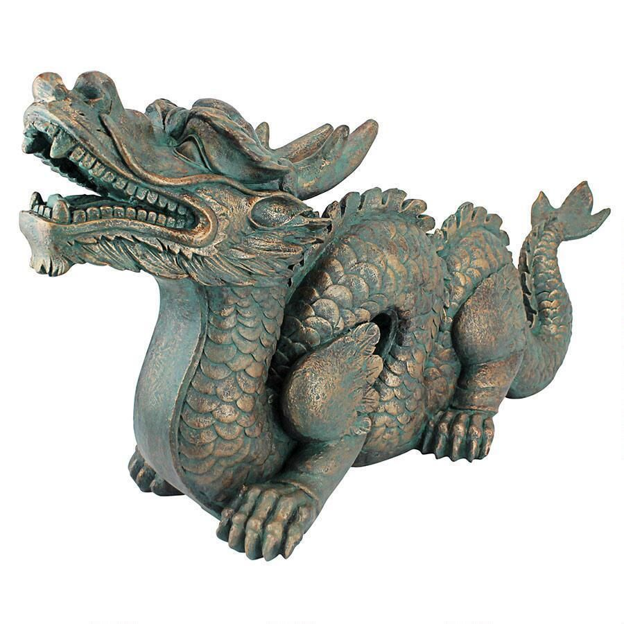 Details About Asian Far East Chinese Dragon Spiked Tail Garden Sculpture Large Statue Dragon Statue Statue Cat Statue