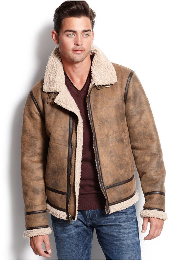 GUESS Railroad Faux-Shearling Jacket | Men's Shearling Coats ...