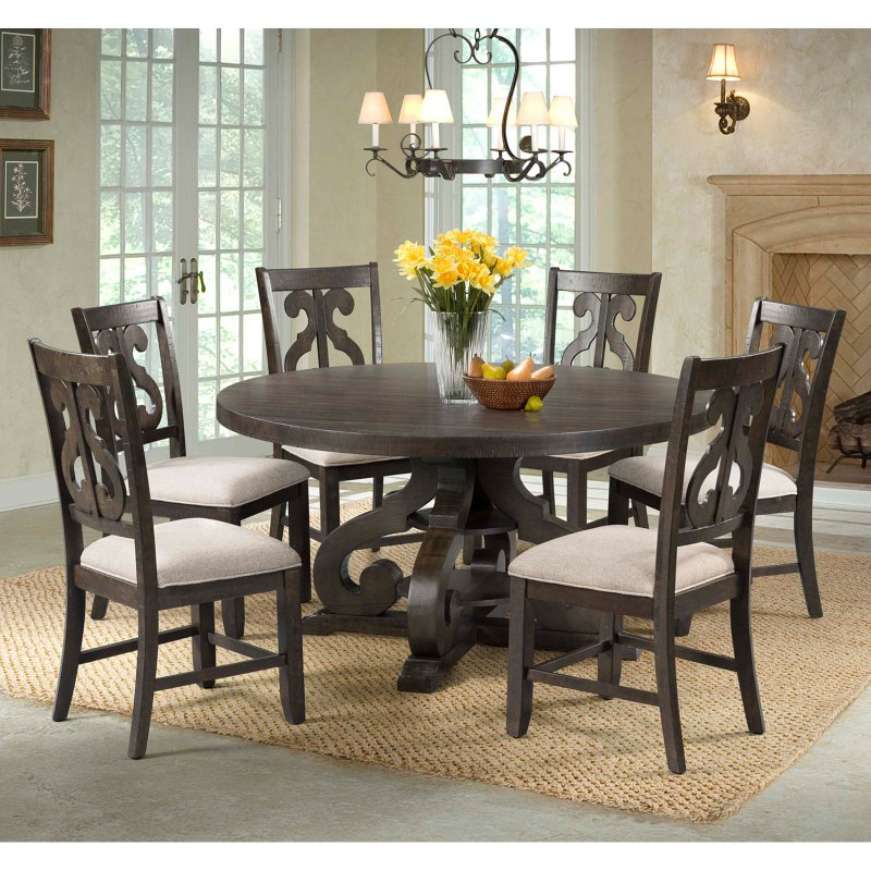 Picket House Furnishings Stanford 7 Piece Round Pedestal Dining ...