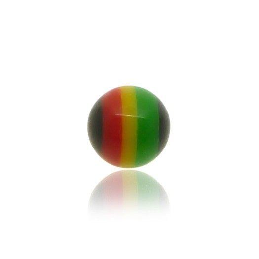 Piercing boule vert jaune rouge en acrylique