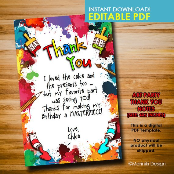 Art Party Thank You Notes Birthday Favor Tags Crayon