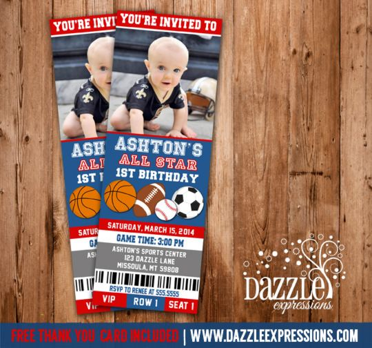 Printable All Star Sports Ticket Birthday Invitation Boy First - free ticket invitation template