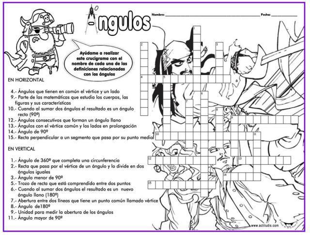 CRUCIGRAMA DE ÁNGULOS   GEOMETRÍA VA   Pinterest