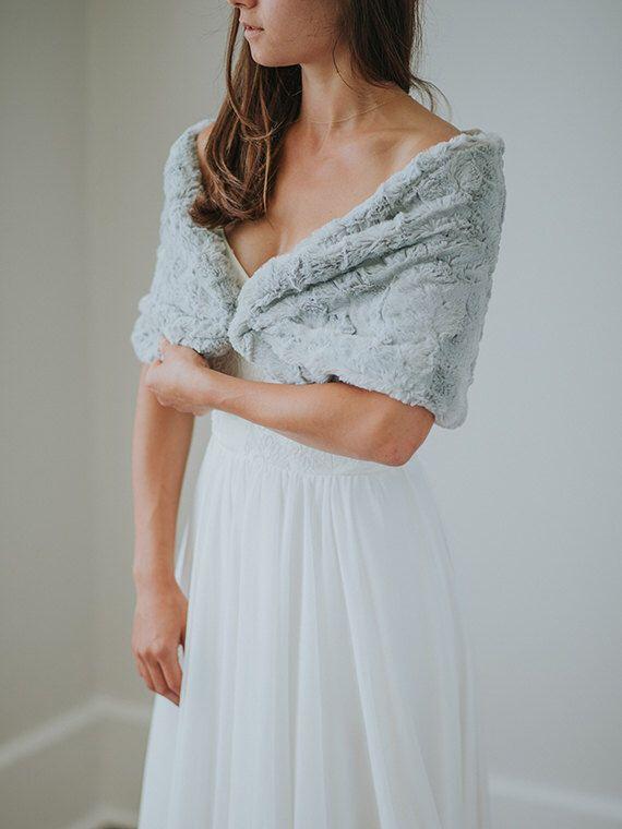 Faux Fur Wedding Shawl | Winter Wedding | Grey Bridal Fur Stole | Bridesmaid Faux Fur Wrap | Gray Faux Fur Shrug [First Frost Fur Stole] by DavieandChiyo on Etsy https://www.etsy.com/listing/460740746/faux-fur-wedding-shawl-winter-wedding