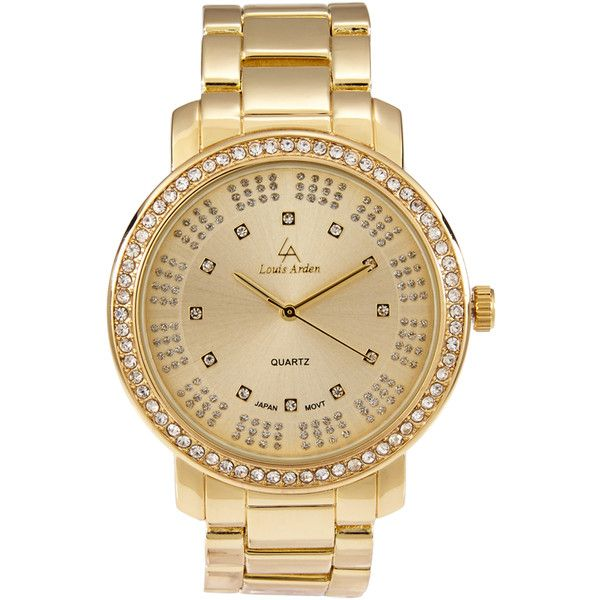 Louis Arden LA7251 Gold-Tone Watch ($17) ❤ liked on Polyvore featuring jewelry, watches, gold, bezel watches, gold tone watches, steel watches, gold tone jewelry and bezel jewelry