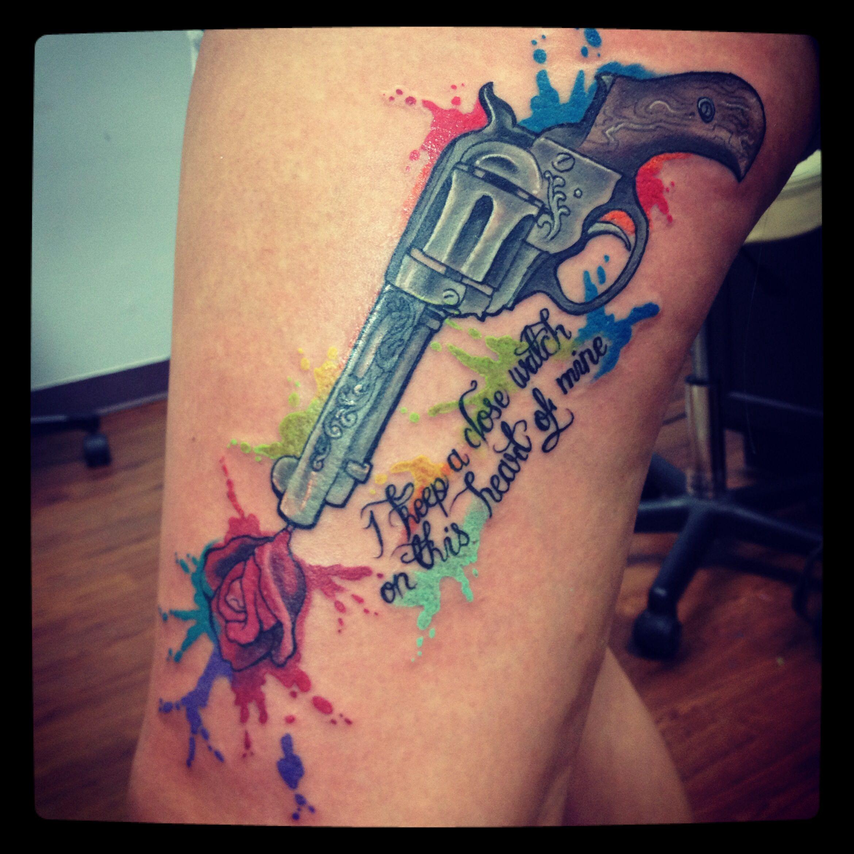 Gun water paint splatter tattoos pinterest tattoo for Water paint tattoo