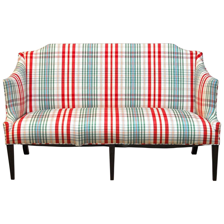 Modern Sheraton Style Plaid Settee Sofa | Plaid | Settee sofa ...