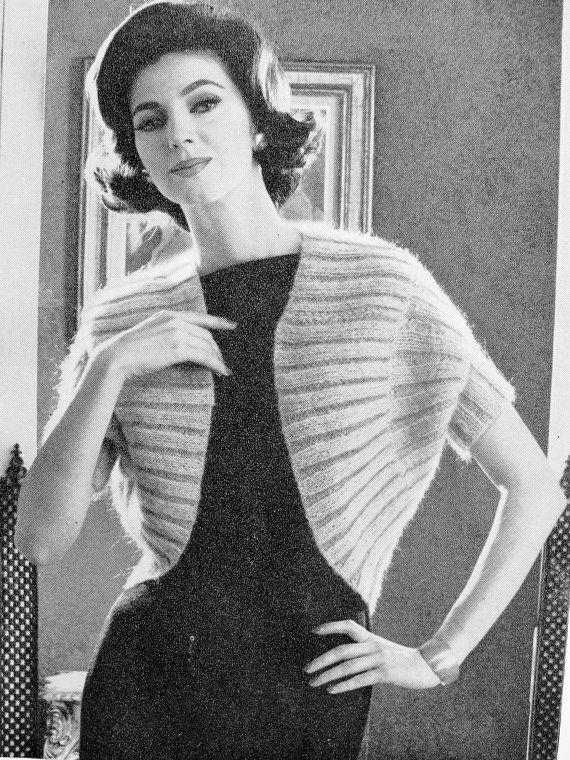 INSTANT PDF PATTERN 1960s Vintage Knitting Pattern Elegant Shrug ...
