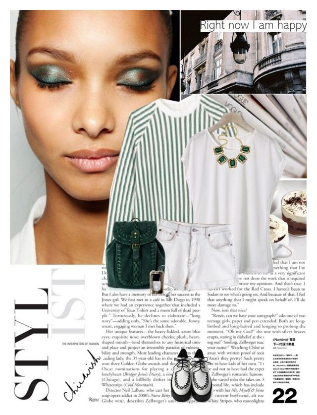 They say the sky's the limit but my heads up in the clouds by hug-voldemort on Polyvore featuring Chicwish, Yochi, Lucien Pellat-Finet, MTWTFSS Weekday, stripes, backpacks, denim shorts, high-waisted shorts, loose tank tops and chunky necklaces