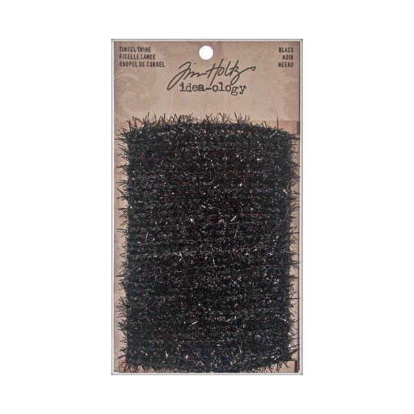 "6 Yards 1/4"" Wide Tim Holtz TINSEL TWINE Scrapbook Black Halloween Vintage Cards #TimHoltz"