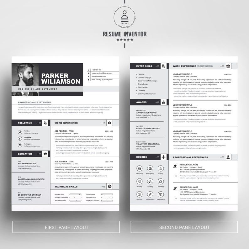 2 page ms word clean professional modern resume design