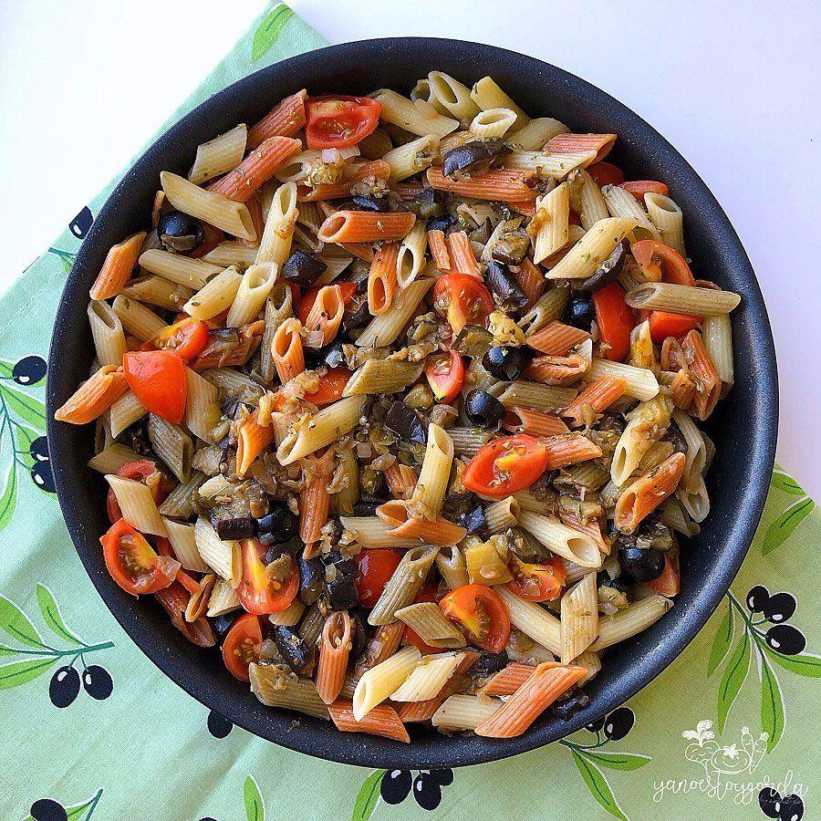 Pasta Con Berenjenas Y Aceitunas Negras Pasta De Berenjenas Aceitunas Negras Macarrones Con Tomate