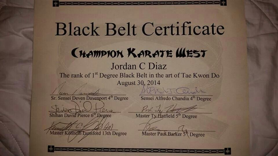 Black Belt Certificate The World Of Martial Arts Certificate