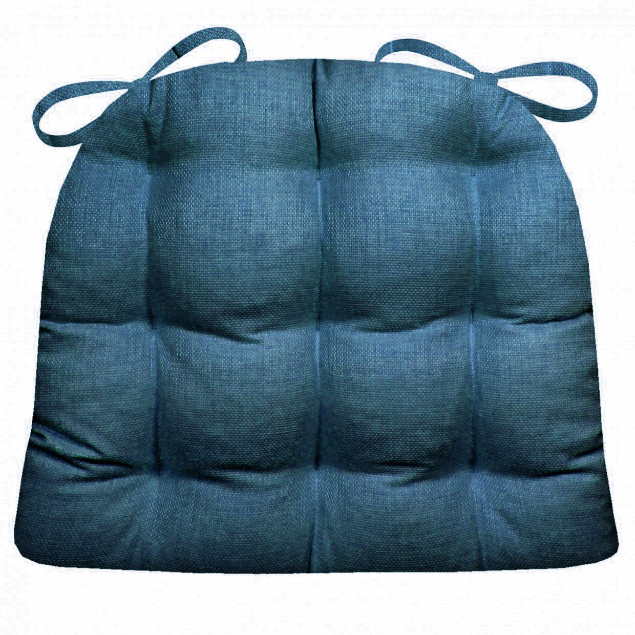 Indoor / Outdoor Dining Chair Pad   Rave Indigo Blue Solid Color Woven  Fabric     Mildew Resistant, Fade Resistant Small Patio Chair Cushion    Reversible, ...