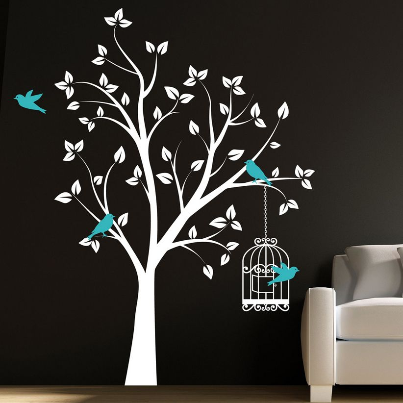 Wall Art Tree large tree with bird cage wall sticker decal- children's bed room