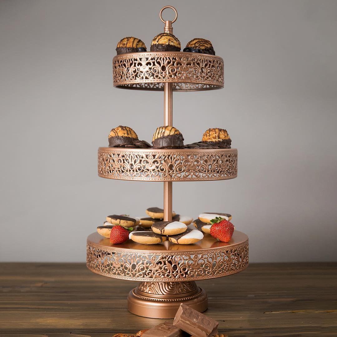 Amalfi_decor rose gold 3tier cupcake stand gold