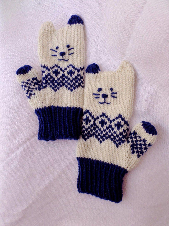 Cat And Kitten Knitting Patterns Kitten Mittens Norwegian Knitting Knitted Mittens Pattern