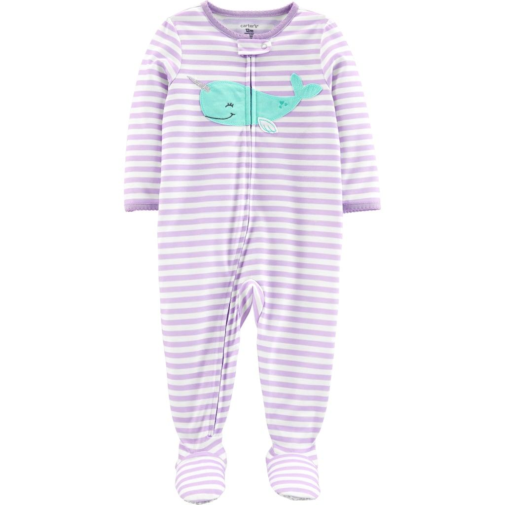 309b12645660 Baby Girl Carter s Striped Narwhal Footed Pajamas
