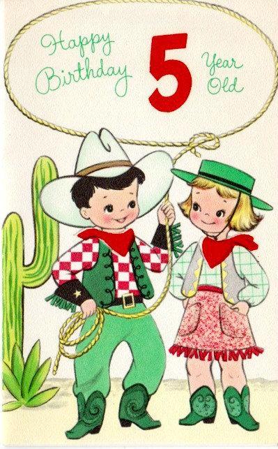 Happy Birthday 5 Year Old Unused Birthday Card For Child Etsy Vintage Birthday Cards Kids Birthday Cards Old Birthday Cards