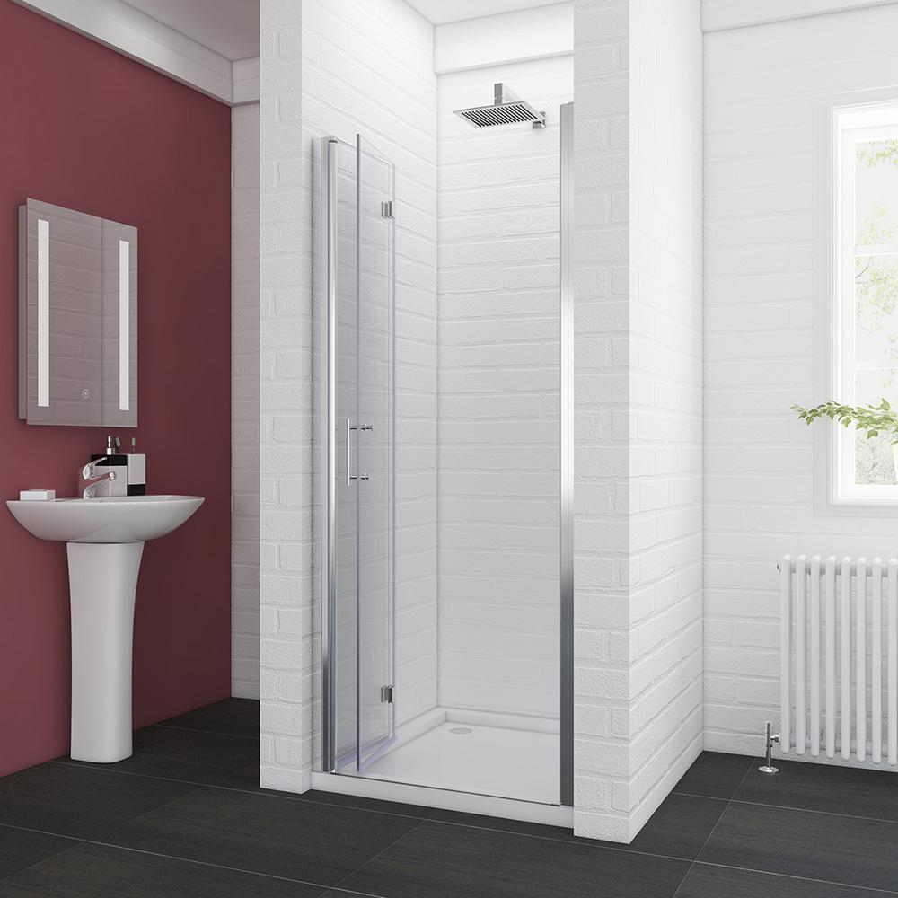 Boyel Living 32 In W X 72 In H Semi Frameless Bi Fold Shower Door Clear Glass Hinged Doors Chrome Bfh32 The Home Depot In 2020 Bifold Shower Door Shower Doors Semi Frameless