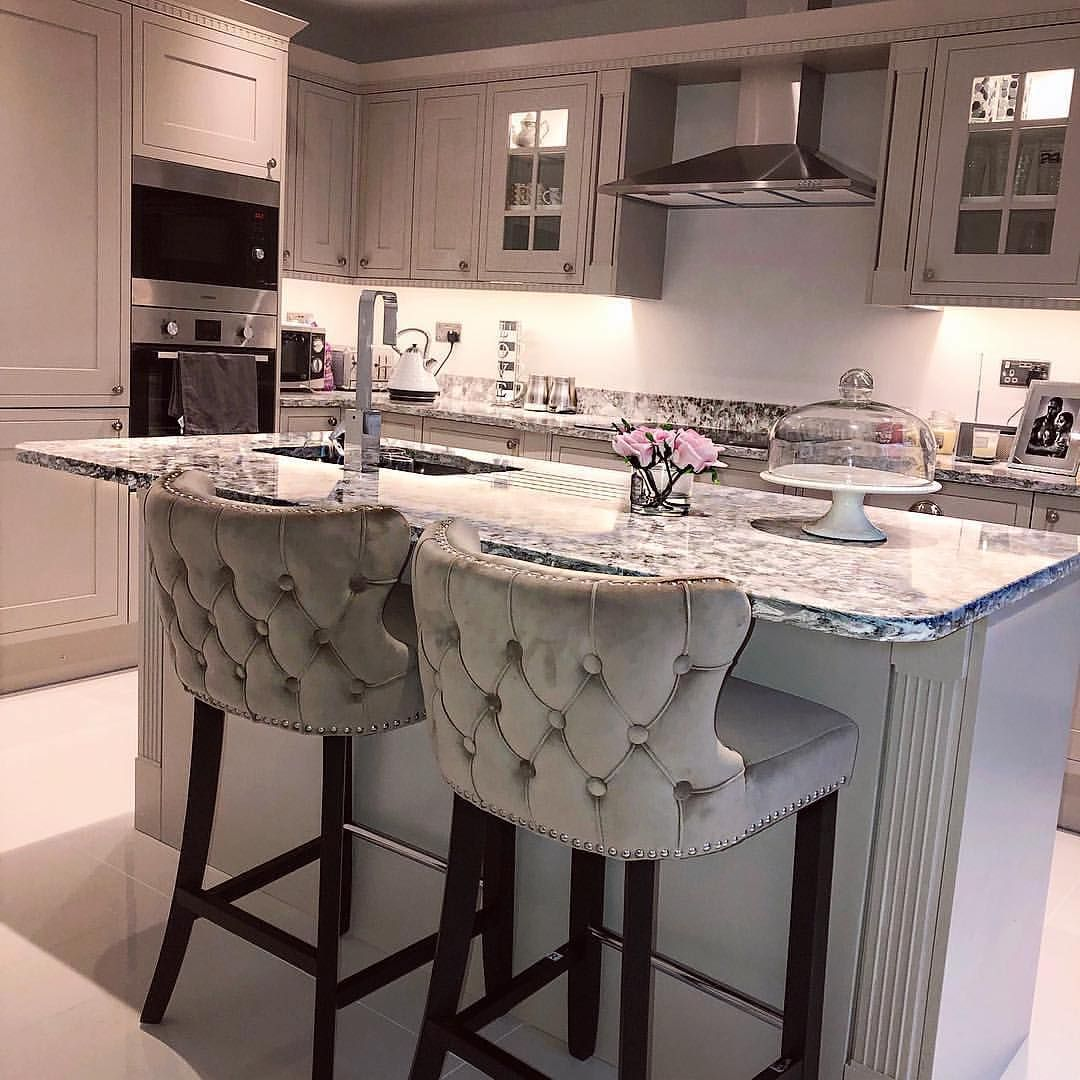 My Furniture Com On Instagram Another Stunning Kitchen Island Featuring Our Margonia Barstools Thi Fancy Kitchens Elegant Bar Stools Living Dining Room