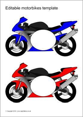 Editable Motorbike Templates Reversed Sb10658 Sparklebox