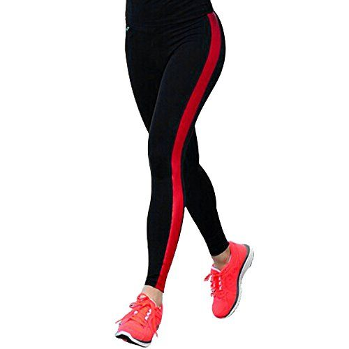 486fe0a4151 Tulucky Women s Yoga Pants Vertical Strip Patchwork Slimming Fitness  Leggings (M