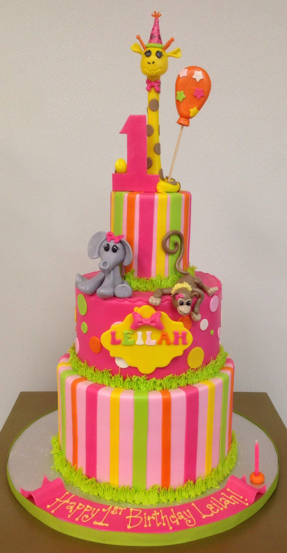 Zoo animal 1st birthday cake elephant cake giraffe cake monkey