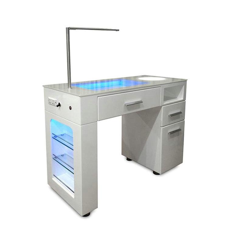 Portable glass salon furniture nail technician desk spa