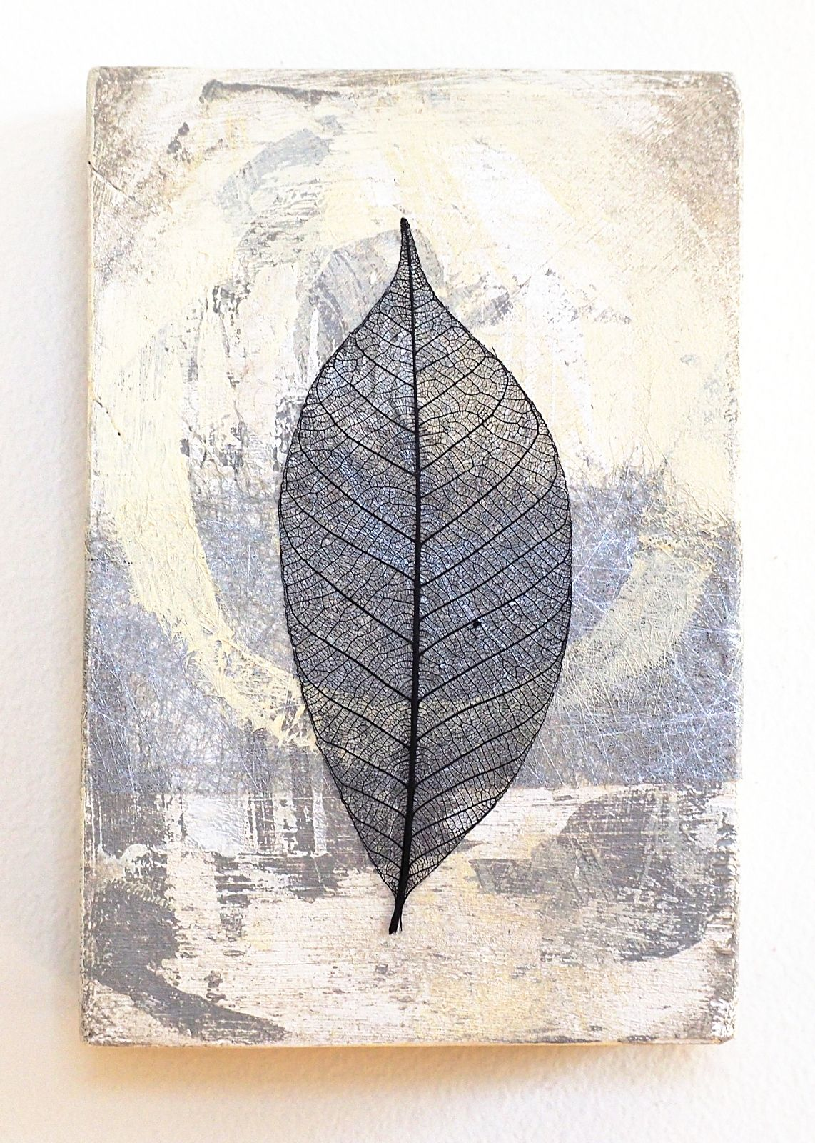 Leaf Wall Art Abstract Mixed Media Collage On Small Reclaimed Wood