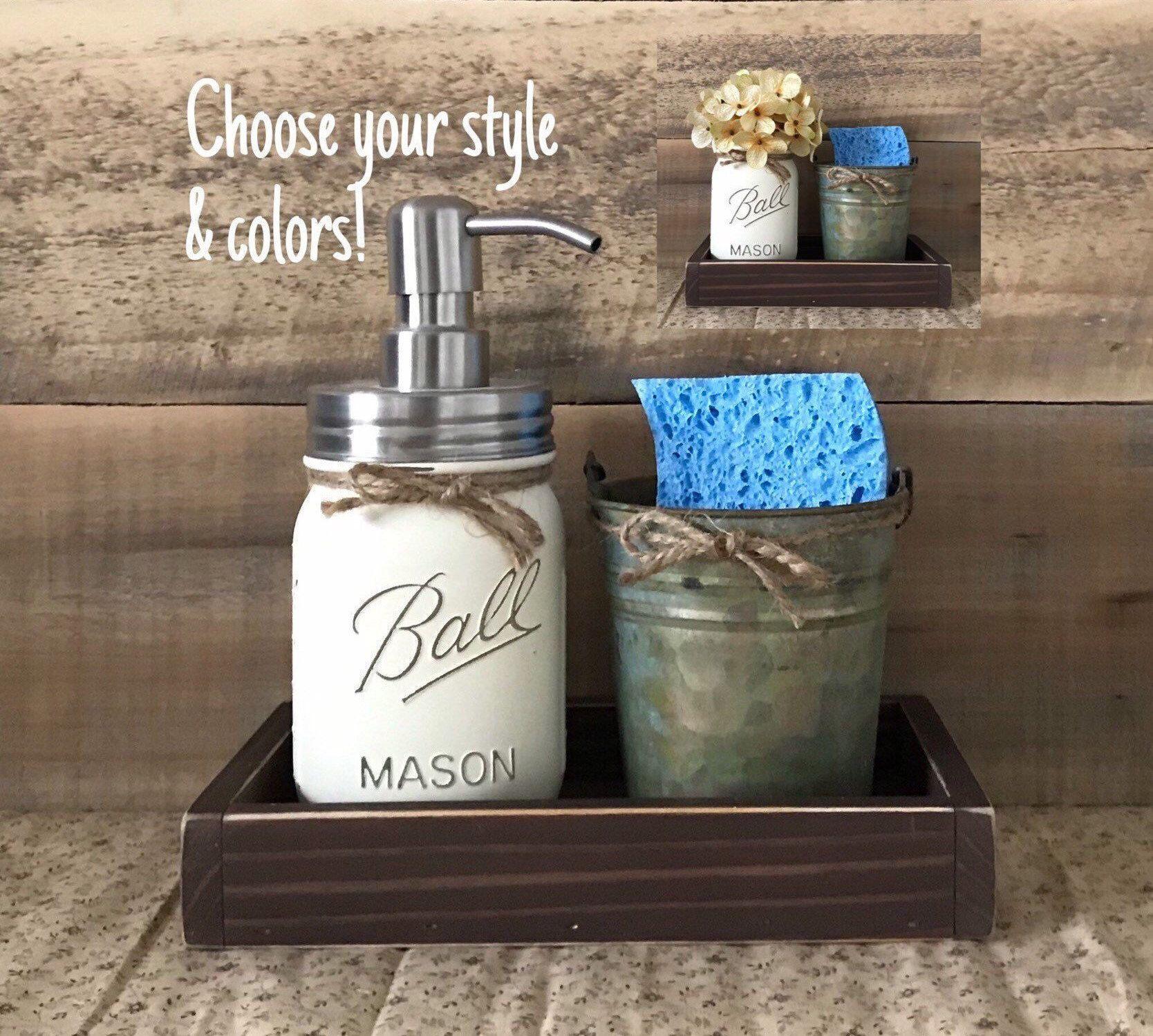 Sponge Holder, Mason Jar Soap Dispenser, Rustic Kitchen