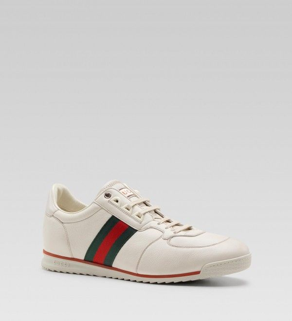 Gucci Men White Leather Lace Up Sneaker | Sneaker Cabinet