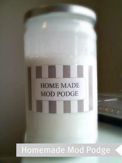 Homemade Mod Podge. I made this. My husband bought real modge podge, i think the real stuff works better, but this will get the job done. I think you should use less water than recommended