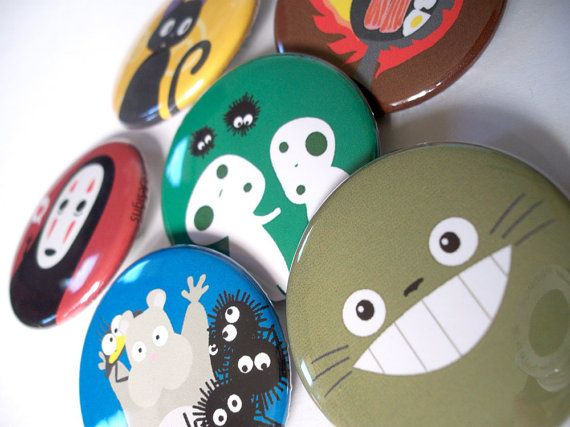 "Totoro & Studio Ghibli - 6 magnets - 1.5"""
