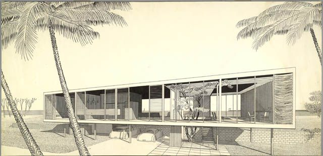 Modern Architecture Perspective paul rudolph, walker residence, sanibel island, florida, 1952