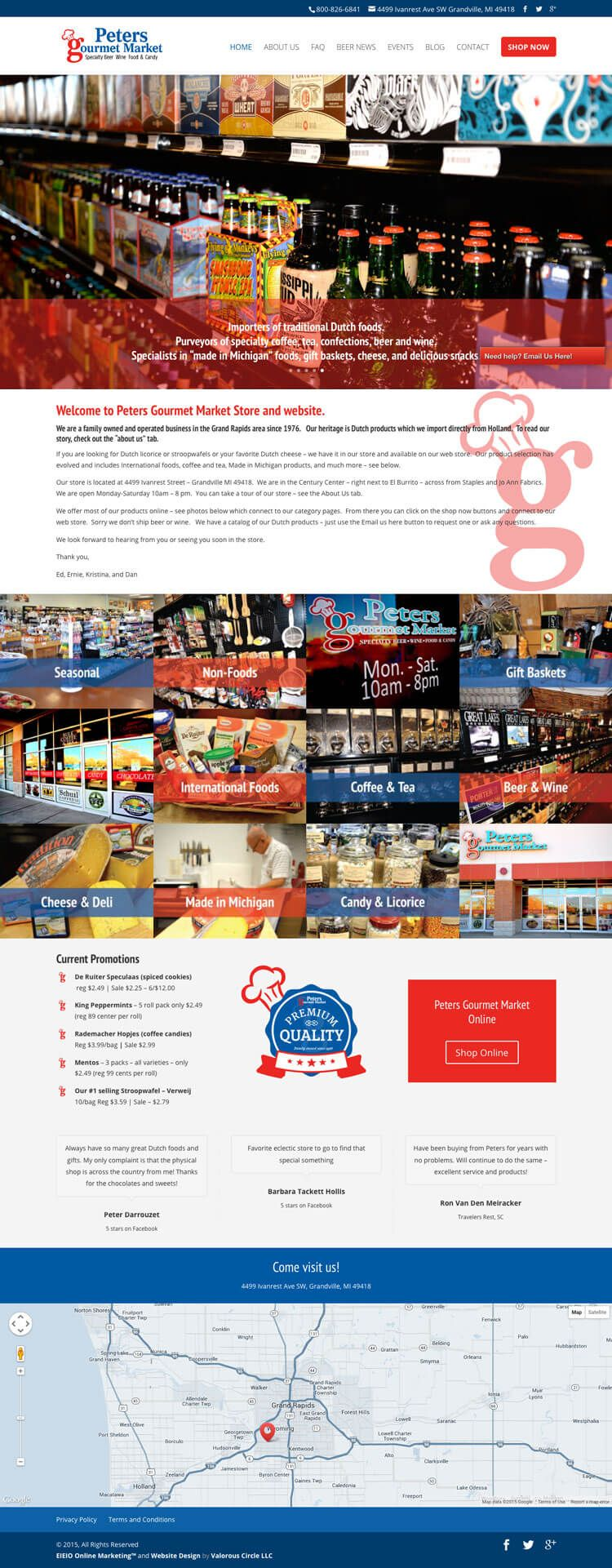 Grand Rapids Website Design for Peters Gourmet Market by