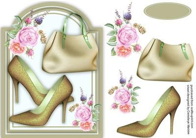 Lovely Buff shoes and Bag  on Craftsuprint designed by Ceredwyn Macrae - A lovely card to make and give to any female on her birthday with Lovely Buff shoes and Bag , - Now available for download!