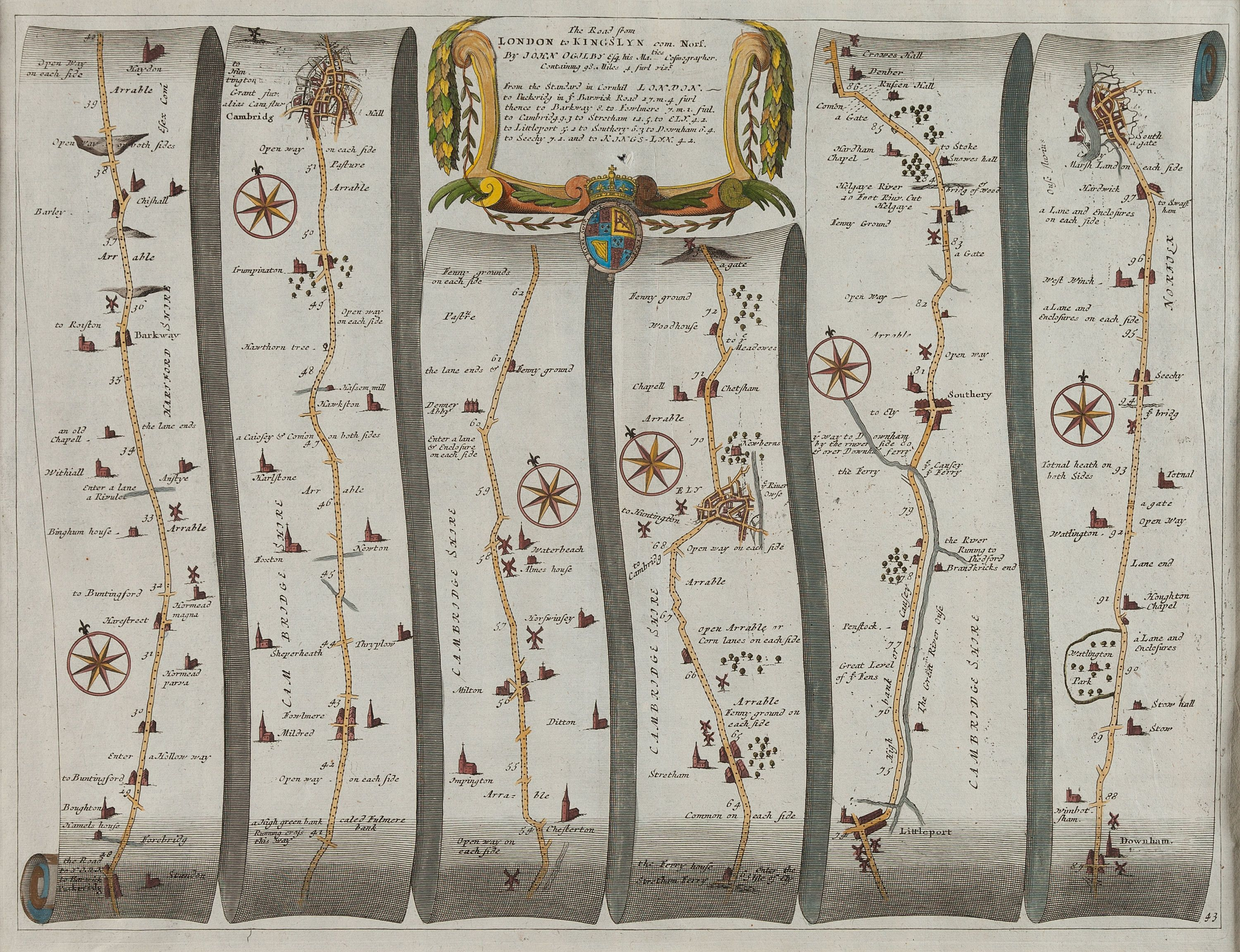 London 1600 Map.John Ogilby 1600 1676 Cartographer The Road From London To
