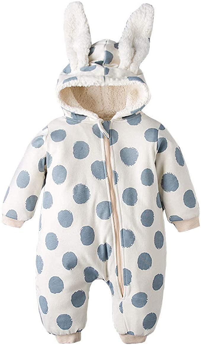 Organic Hooded Unisex Romper for Baby or Toddler  Warm Winter Baby Romper