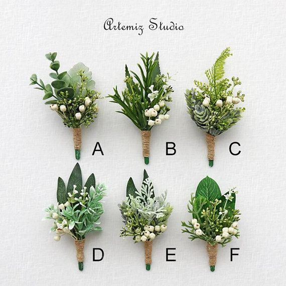 Greenery Ivory Rustic Wedding Fake Boutonniere Wrist Corsage Set Boutineer Wristlet Fern Olive Babysbreath Buttonhole Faux Flowers Lapel Pin