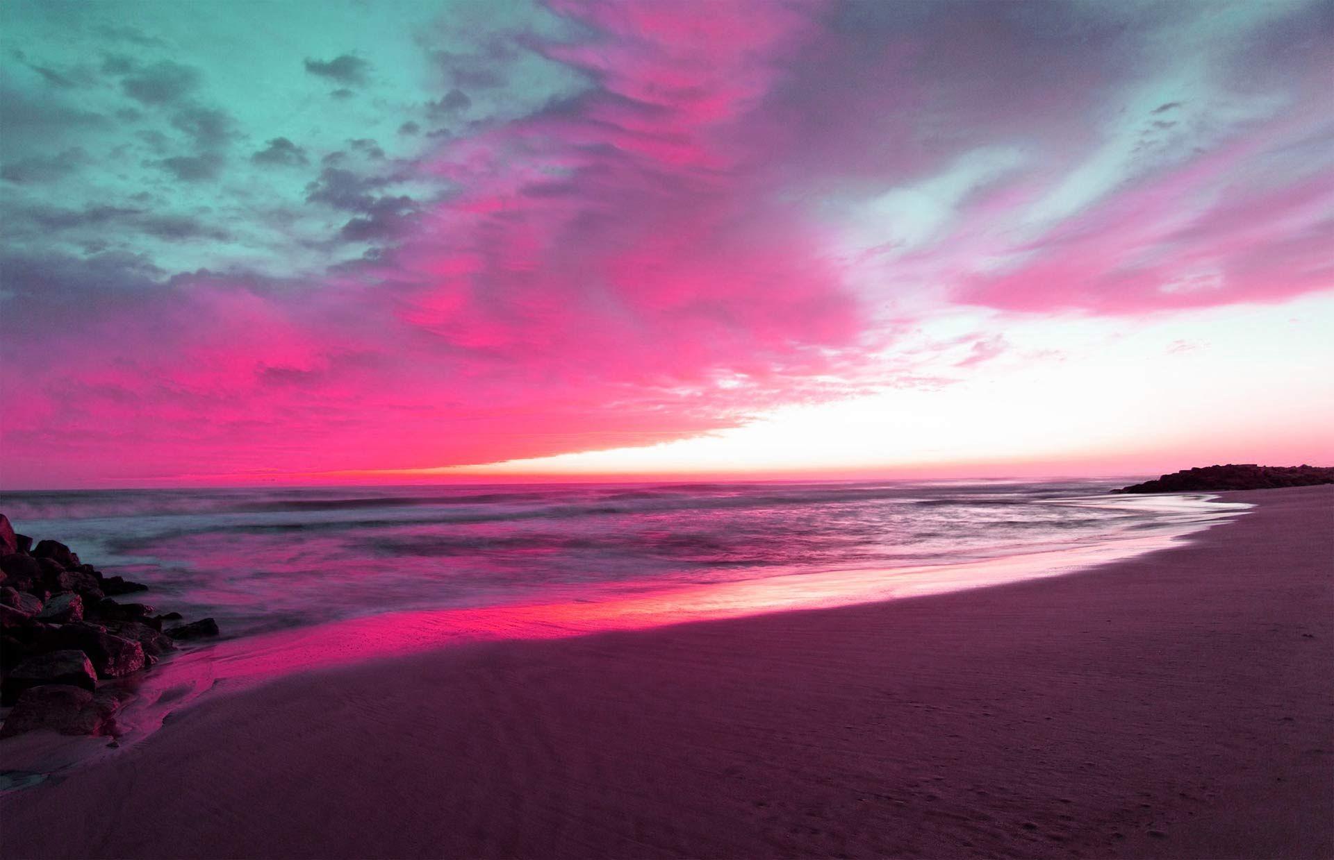 Fondo Pantalla Atardecer Purpura Playa