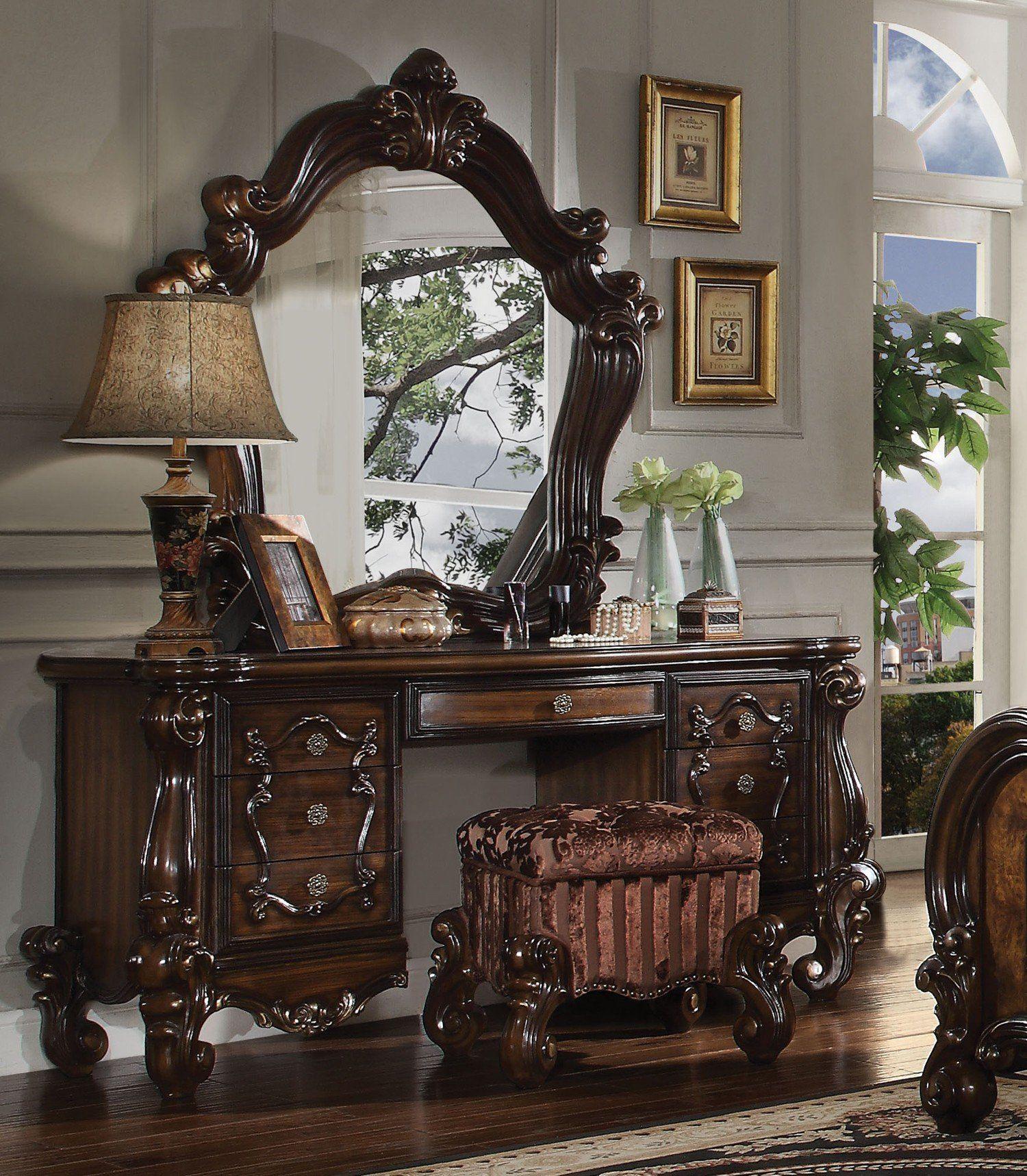 Acme 21107 Versailles 3pcs Cherry Oak Dresser Vanity Set Stool